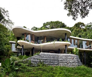 Tropical house nestled amongst treetops
