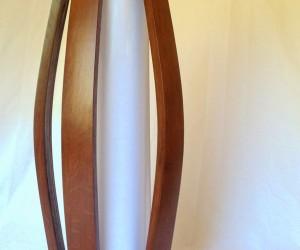 Tulip, recycled oak wine barrel staves  shoji paper floor lamp