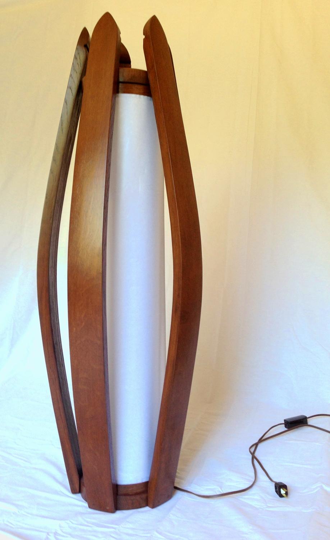 Tulip Recycled Oak Wine Barrel Staves Shoji Paper Floor Lamp