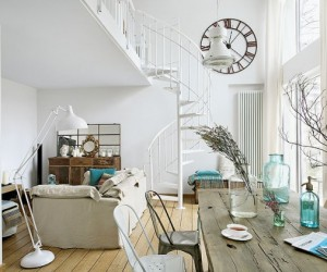Turquoise accents in a polish loft