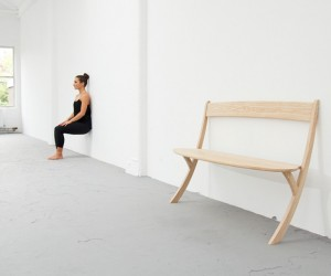 Two Legs Leaning Bench by Izabela Boloz