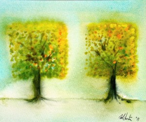 Two Square Trees by Hilary Slater
