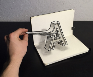 Typographic Optical Illusions Drawn Entirely by Hand