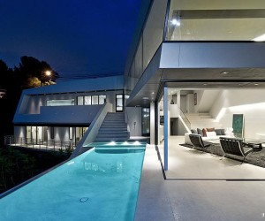 Ultra Modern Angular Home With Spillover Pool.