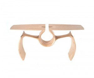 Unconventional Maple Entry Table Exuding a Singular, Continuous Form