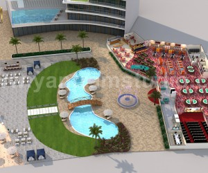 Unique Game Zone with Beach side Swimming Pool Floor Plan Design Companies by Architectural Modeling Firm, Paris  France