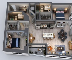 Unique Residential Apartment 3D Floor Plan Rendering Ideas by Yantram 3D Floor Plan Design, San Diego - USA