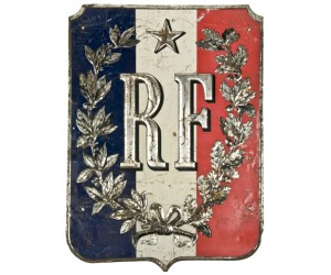 Vintage French Military RF Flag Holder Sign
