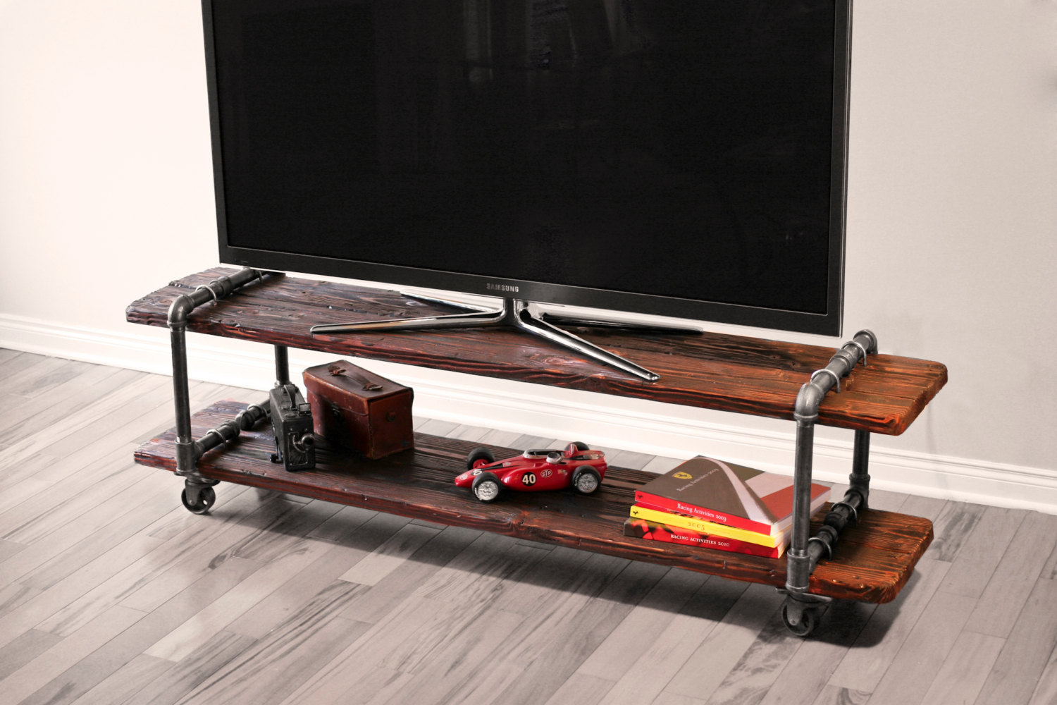 vintage industrial tv stand. Black Bedroom Furniture Sets. Home Design Ideas