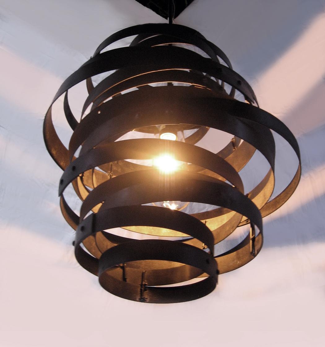 Vortex, Recycled Steel Wine Barrel Hoops Light Fixture