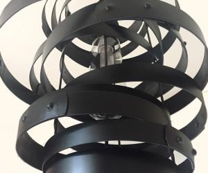 Vortex, repurposed wine barrel rings, hoops pendant light, chandelier, black, with glass shade