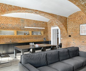 Warm Apartment With Exposed Brick Walls Designed by Arhitektura AB Objekt