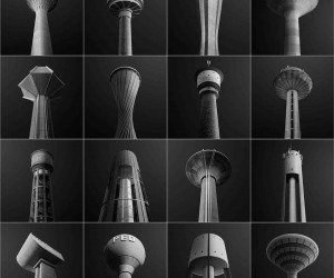 Water Towers of Luxembourg: Black and White Architecture Photography by Gediminas Karbauskis