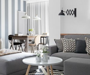 White, black and greys in a Polish apartment