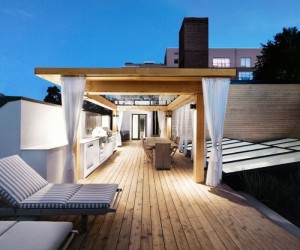 White canvas on a green roof: modern rooftop garden, Montreal