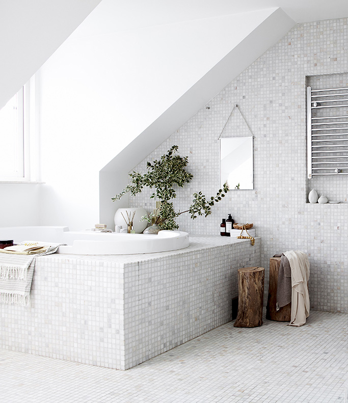 White Mosaics Bathroom By Daniella Witte