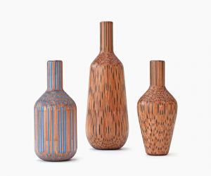 Wooden Vases Made Out Of Pencils